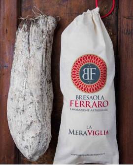 Bresaola della Valchiavenna artigianale, Punta D'Anca affumicata Meraviglia - 4,2 kg stagionatura 45gg - Bresaola Ferraro