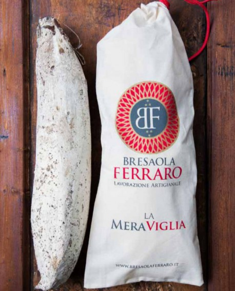 Bresaola della Valchiavenna artigianale, Magatello affumicata Meraviglia - 1,8 kg stagionatura 45gg - Bresaola Ferraro