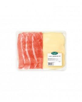 Prosciutto 24 mesi affettato e formaggio dell'Alpe posati a mano - fetta mossa vaschetta 110g - Affettati DolceParma