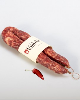 Salsiccia cilentana piccante con peperoncino - 300g sottovuoto - stagionatura 30 giorni - Salumi Tomeo