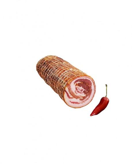 Pancetta arrotolata piccante senza cotenna - metà 2 Kg sottovuoto - stagionatura  5 mesi - Salumi Cembalo