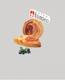 Pancetta arrotolata cilentana al mirto - metà 2 Kg sottovuoto - stagionatura  4 mesi - Salumi Tomeo
