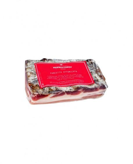 Pancetta Affumicata stesa Stagionata Selezione Verdés - trancio piccolo 320g sottovuoto - stagionatura 90 giorni - Fratelli Cor