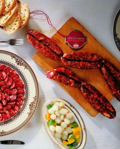 Salsiccia di Calabria D.O.P. catena piccante 250 gr Tenuta Corone - Salumificio Madeo