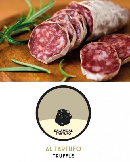Salametto al tartufo intero vista gr 200 al pezzo - 4 Kg - Stagionatura 4 mesi  -  Salumeria di Monte San Savino